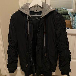 black bomber with detachable hood